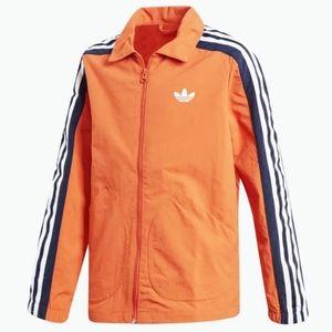 Adidas | Orange Nylon Coach Jacket Trefoil Logo